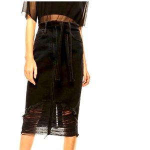 Zara Midi Distressed Denim Skirt size xs